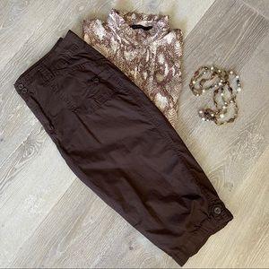 DRESSBARN Chocolate Brown Crop Pants Size 14